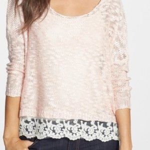 Nordstrom Love by Design Pink Lace Sweater